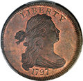 Large Cents, 1797 1C Reverse of 1797, Stems, S-123, B-12, R.4, MS64 Brown PCGSSecure. CAC....