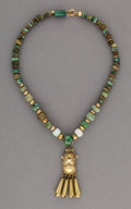 Jewelry:Necklaces, A Mixtec Gold and Jade Necklace...