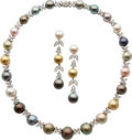 Estate Jewelry:Suites, South Sea Cultured Pearl, Diamond, White Gold Jewelry Suite. ... (Total: 2 Items)