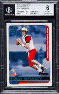 Football Cards:Singles (1970-Now), 2000 Pacific Paramount Tom Brady Platinum Blue #138 BGS EX-MT 6 - Numbered 6/75....