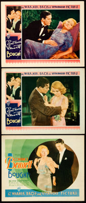 """Bought! (Warner Brothers, 1931). Title Lobby Card & Lobby Cards (2) (11"""" X 14""""). From the Collection of Fr..."""
