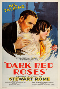 """Dark Red Roses (International Photo Play Distributors, 1929). One Sheet (27"""" X 41""""). From the Collection of Fr..."""