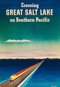 "Great Salt Lake (Southern Pacific, 1940). Full-Bleed Travel Poster (16"" X 23"") William Haines Hall Artwork..."