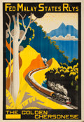 """Movie Posters:Miscellaneous, Federated Malay States Railways (1933). Malayan Travel Poster (21.5"""" X 31"""") """"The Golden Chersonese."""" Hugh Le Fleming Artwork..."""