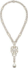 Estate Jewelry:Necklaces, Diamond, South Sea Cultured Pearl, White Gold Convertible Necklace....