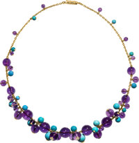 Diamond, Amethyst, Turquoise, Gold Necklace, Cartier, French