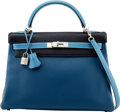 Luxury Accessories:Bags, Hermès Special Order Horseshoe 28cm Cobalt, Blue Marine, Turquoise,Black, and Etoupe Togo Leather Retourne Kelly Bag with Bru...
