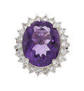 Estate Jewelry:Rings, Amethyst, Diamond, Platinum Ring. ...