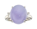 Estate Jewelry:Rings, Lavender Jadeite Jade, Diamond, Platinum Ring. ...