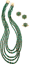 Estate Jewelry:Suites, Emerald, Gold Jewelry Suite . ... (Total: 3 Items)