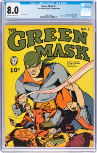 Green Mask #1 (Fox Features Syndicate, 1940) CGC VF 8.0 Off-white to white pages