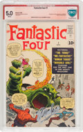 Silver Age (1956-1969):Superhero, Fantastic Four #1 Stan Lee and Jack Kirby Verified Signature(Marvel, 1961) CBCS VG/FN 5.0 White pages....
