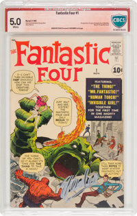 Fantastic Four #1 Stan Lee and Jack Kirby Verified Signature (Marvel, 1961) CBCS VG/FN 5.0 White pages