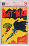 Golden Age (1938-1955):Superhero, Batman #1 Bob Kane Verified Signature (DC, 1940) CBCS Restored (Moderate Professional) FN 6.0 Off-white to white pages....