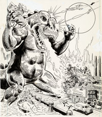 Carmine Infantino and Mike Esposito Marvel Comic #340 Cover Godzilla Original Art (Marvel UK, 1979)