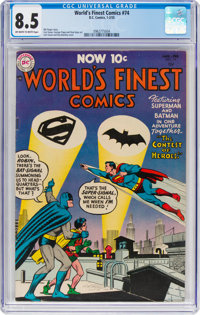 World's Finest Comics #74 (DC, 1955) CGC VF+ 8.5 Off-white to white pages