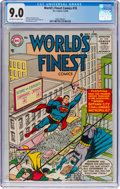 Golden Age (1938-1955):Superhero, World's Finest Comics #76 (DC, 1955) CGC VF/NM 9.0 Off-white to white pages....