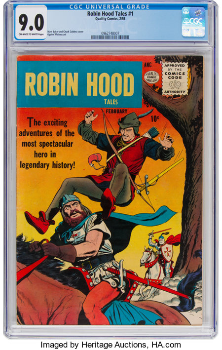 Robin Hood Tales #1 (Quality, 1956) CGC VF/NM 9.0 Off-white to white pages....