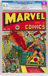 Marvel Mystery Comics #15 (Timely, 1941) CGC VF+ 8.5 Off-white pages