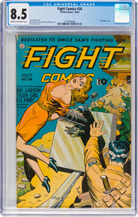 Fight Comics #34 (Fiction House, 1944) CGC VF+ 8.5 Cream to off-white pages