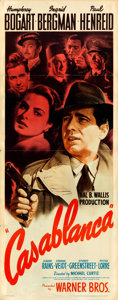 "Movie Posters:Academy Award Winners, Casablanca (Warner Brothers, 1942). Insert (14"" X 36"") From the Warner Media Archive.. ..."