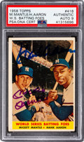 """Baseball Cards:Autographs, Signed 1958 Topps Mantle & Aaron """"World Series Batting Foes"""" #418 PSA/DNA Auto Mint 9. ..."""