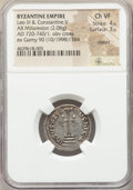 Ancients:Byzantine, Ancients: Constantine V Copronymus (AD 741-775). AR miliaresion(21mm, 2.08 gm, 7h). NGC Choice VF 4/5 - 3/5, clipped....