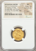 Ancients:Byzantine, Ancients: Basil I the Macedonian (AD 867-886), with Constantine. AVsolidus (19mm, 4.39 gm, 6h). NGC AU 5/5 - 3/5, scuffs....