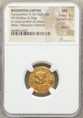 Ancients:Byzantine, Ancients: Constantine IV Pogonatus (AD 668-685). AV solidus (19mm,4.34 gm, 6h). NGC MS 5/5 - 4/5, clipped....