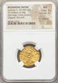 Ancients:Byzantine, Ancients: Justinian II, first reign (AD 685-695). AV solidus (20mm, 4.34 gm, 7h). NGC AU 3/5 - 3/5, crimped, clipped, die shift....
