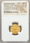 Ancients:Byzantine, Ancients: Tiberius III Apsimar (AD 698-705). AV solidus (19mm, 4.41gm, 6h). NGC MS 4/5 - 2/5, scuffs....