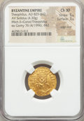 Ancients:Byzantine, Ancients: Theophilus (AD 829-842), with Michael II Armorian andConstantine. AV solidus (20mm, 4.30 gm, 6h). NGC Choice XF 5/5 -3/5, ed...