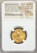 Ancients:Byzantine, Ancients: Basil II Bulgaroctonos (AD 976-1025), with ConstantineVIII. AV histamenon nomisma (21mm, 3.93 gm, 7h). NGC Choice XF5/5 - 2/...