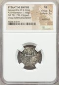 Ancients:Byzantine, Ancients: Constantine VI and Irene (AD 780-797). AR miliaresion(20mm, 1.48 gm, 12h).NGC VF 3/5 - 3/5, overstruck,clipped....
