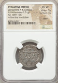Ancients:Byzantine, Ancients: Constantine X Ducas and Eudocia (AD 1059-1067). ARmiliaresion (25mm, 2.31 gm, 6h). NGC Choice VF 5/5 - 4/5,clipped....