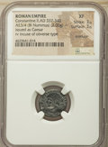 Ancients:Roman Imperial, Ancients: Constantine II, as Caesar (AD 337-340). AE3/4 or BI nummus (16mm, 2.00 gm, 12h). NGC XF 3/5 - 3/5, Brockage....