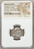 Ancients:Roman Imperial, Ancients: Constantius II, as Augustus (AD 337-361). AR siliqua(21mm, 3.54 gm, 7h). NGC MS 4/5 - 4/5....