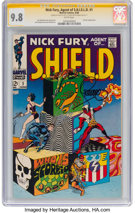 Nick Fury, Agent of S.H.I.E.L.D. #1 Signature Series - Stan Lee and Jim Steranko (Marvel, 1968) CGC NM/MT 9.8 White pages....