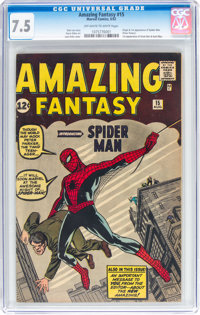 Amazing Fantasy #15 (Marvel, 1962) CGC VF- 7.5 Off-white to white pages