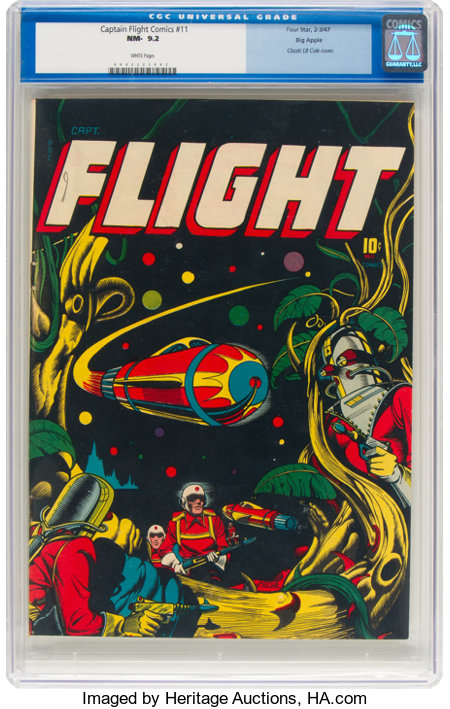 Captain Flight Comics #11 Big Apple Pedigree (Four Star, 1947) CGC NM- 9.2 White pages....