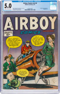 Golden Age (1938-1955):War, Airboy Comics V4#8 (Hillman Fall, 1947) CGC VG/FN 5.0 Cream tooff-white pages....