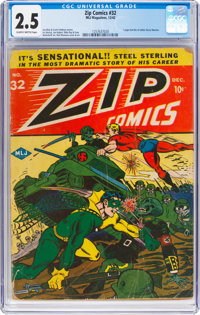 Zip Comics #32 (MLJ, 1942) CGC GD+ 2.5 Slightly brittle pages