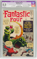 Silver Age (1956-1969):Superhero, Fantastic Four #1 Cover Trimmed (Marvel, 1961) CGC Apparent VF 8.0Slight (P) Off-white pages....