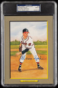 Autographs:Post Cards, 1987 Warren Spahn Signed Perez-Steele Great Moments #14, PSA/DNA MT 9....