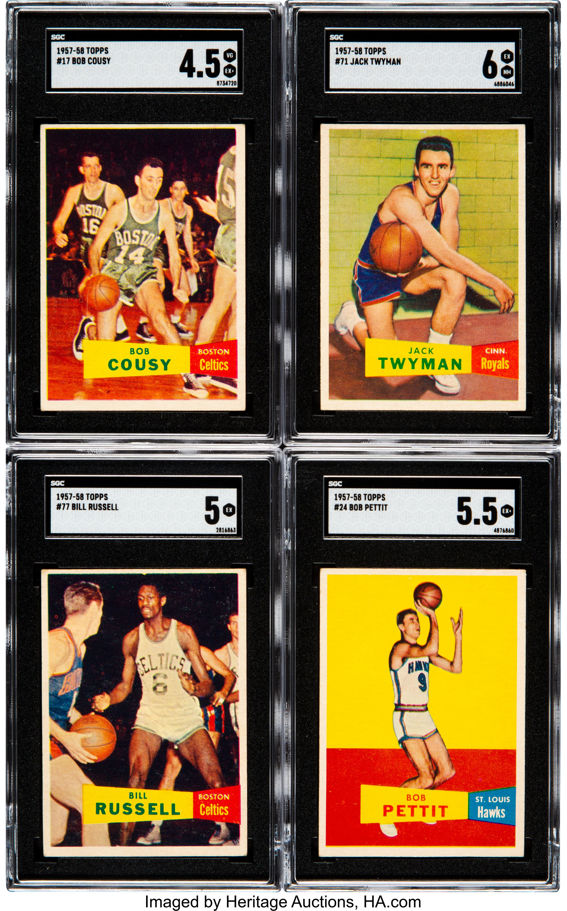 1957 Topps Basketball Partial Set 24 With Pettit Cousey Lot