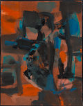 Fine Art - Painting, American, Marcel Mouly (French, 1918-2008). Sans Titre Rouge(Untitled), 1963. Oil on canvas. 12-1/2 x 9-3/4 inches (31.8 x24.8 c...