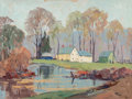 Fine Art - Painting, American, John F. Enser (American, 1898-1968). House Near a Pond,1942. Oil on canvasboard. 18 x 24 inches (45.7 x 61.0 cm). Signe...