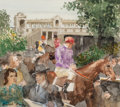 Fine Art - Painting, American, Randall Davey (American, 1887-1964). Jockey and Spectators,Auteuil. Watercolor and pencil on paper laid on board. 13-1/...
