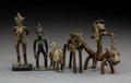 Tribal Art, Five Akan Bronzes Three equestrian and two...