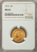Indian Half Eagles: , 1913 $5 MS62 NGC. NGC Census: (4362/1583). PCGS Population: (3025/2314). MS62. Mintage 915,900. ...